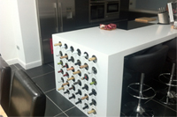 Corian Glacier White Worktops and Wine Rack